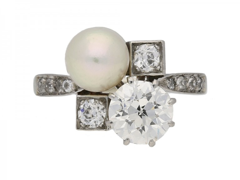 Pearl diamond antique ring berganza hatton garden