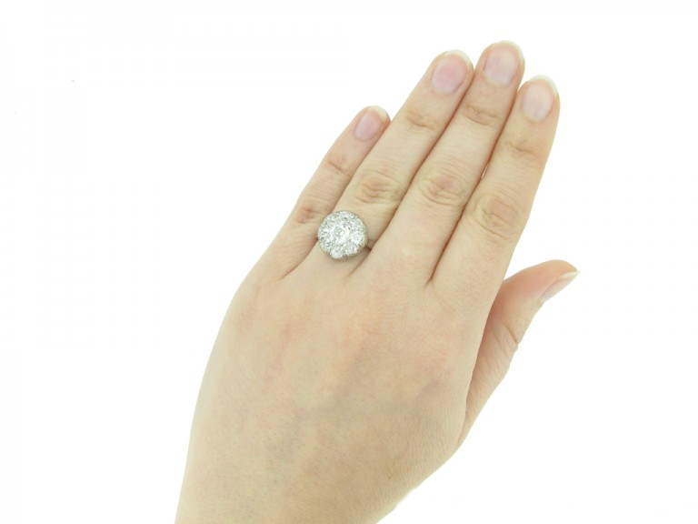 hand view art deco diamond ring berganza hatton garden