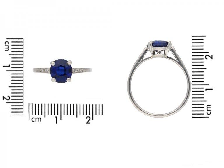 size view antique Burmese sapphire  diamond ring berganza hatton garden