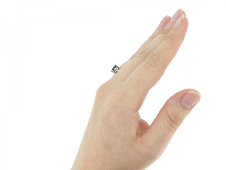 hand view antique Burmese sapphire  diamond ring berganza hatton garden