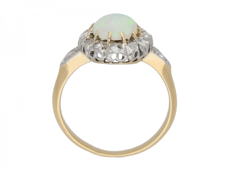 back view Victorian opal diamond ring berganza hatton garden