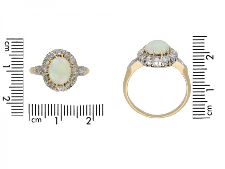 size view Victorian opal diamond ring berganza hatton garden