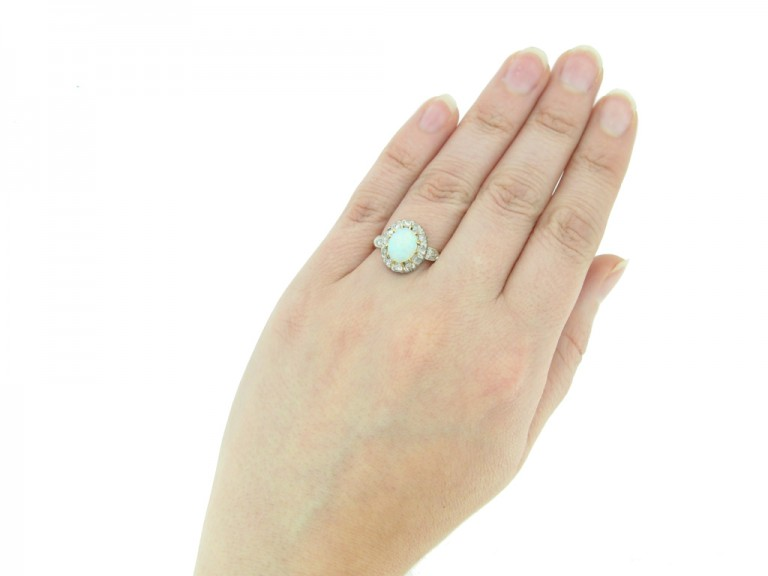 hand view Victorian opal diamond ring berganza hatton garden