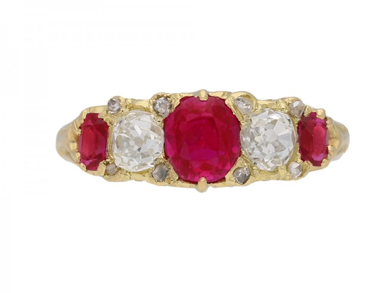 Antique ruby diamond ring berganza hatton garden