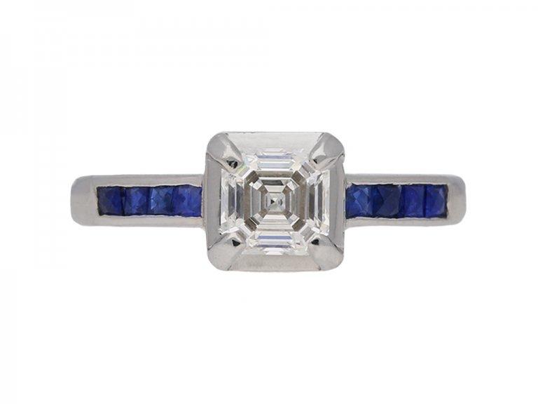 asscher diamond sapphire ring berganza hatton garden