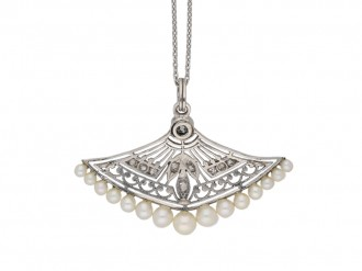 antique Diamond pearl pendant berganza hatton garden