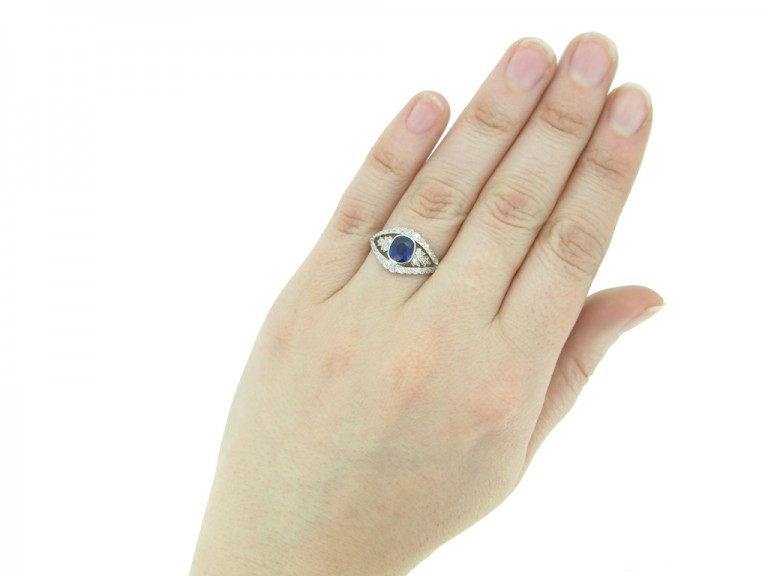 front view antique sapphire diamond ring berganza hatton garden