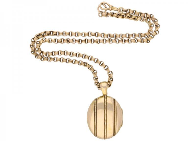 Antique gold locket chain berganza hatton garden