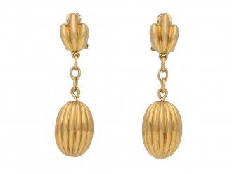 vintage Yellow gold clip ear pendants hatton garden