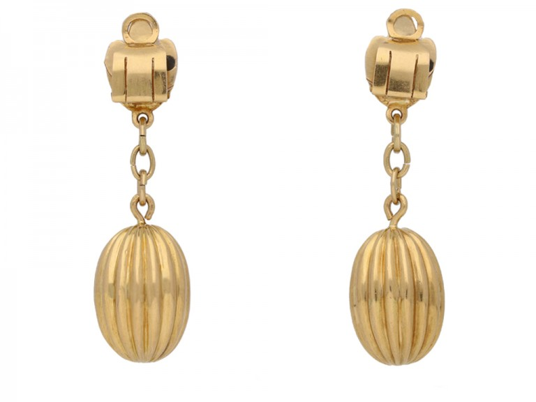 vintage Yellow gold clip ear pendants hatton garden