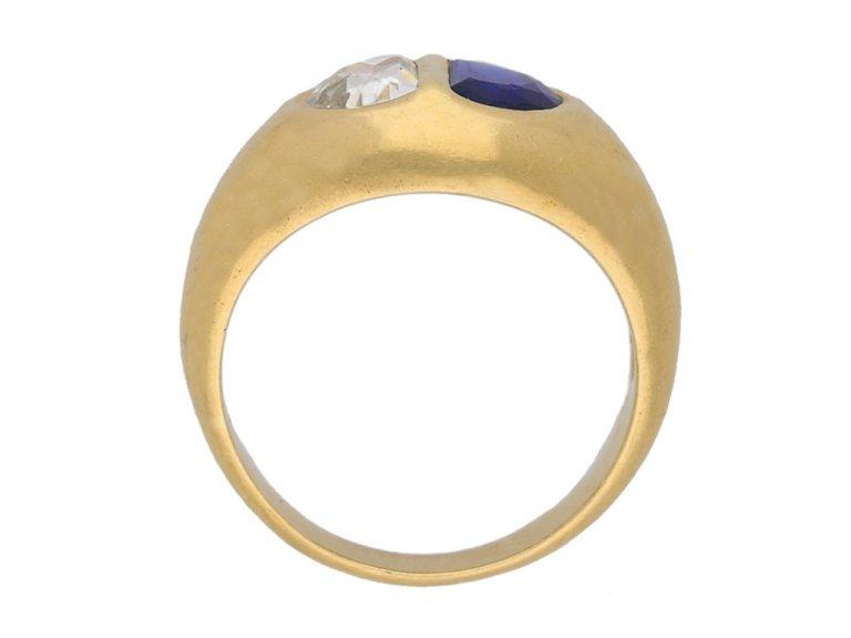 front view vintage Sapphire diamond ring berganza hatton garden