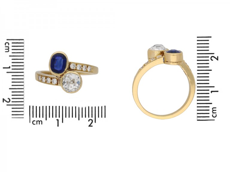 size view Vintage diamond sapphire ring berganza hatton garden