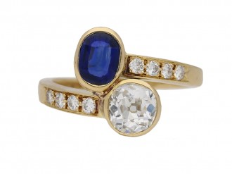 Vintage diamond sapphire ring berganza hatton garden