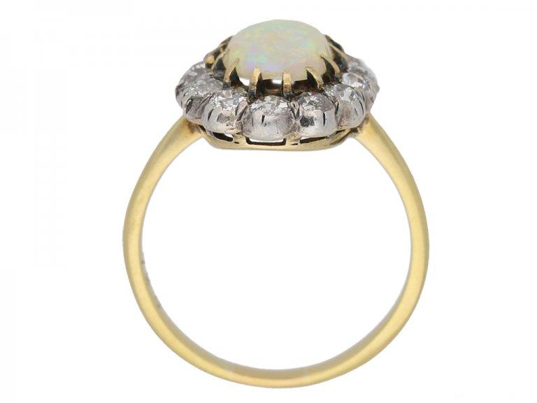 back view Antique opal diamond ring berganza hatton garden