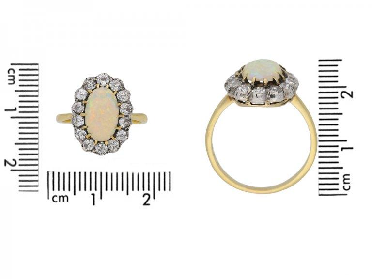 size view Antique opal diamond ring berganza hatton garden