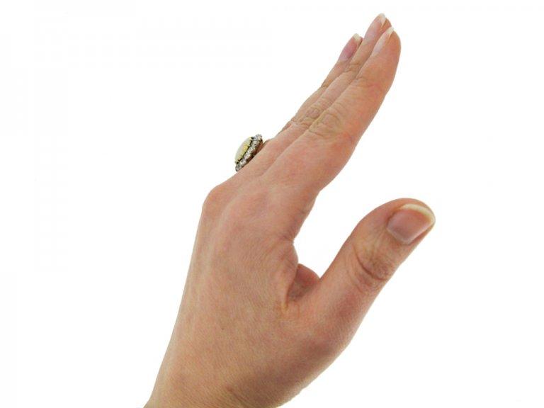 hand view Antique opal diamond ring berganza hatton garden