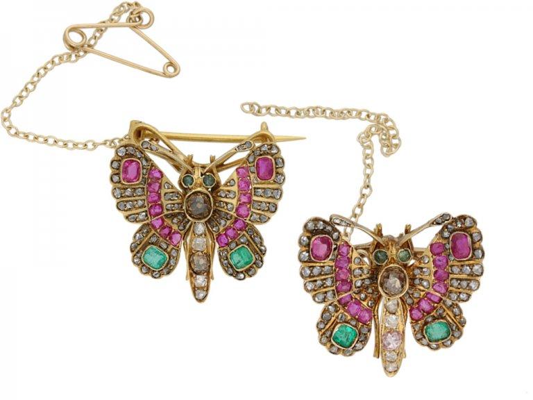 pair Victorian gem set butterfly brooches berganza hatton garden