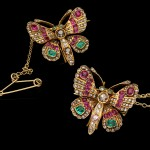 A pair of Victorian gem set butterfly brooches, English, circa 1890.