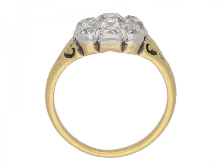 back view Victorian diamond cluster ring berganza hatton garden