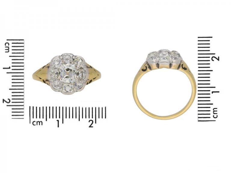 size view Victorian diamond cluster ring berganza hatton garden