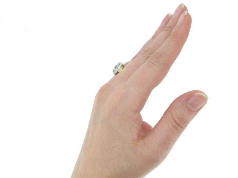 hand view Victorian diamond cluster ring berganza hatton garden
