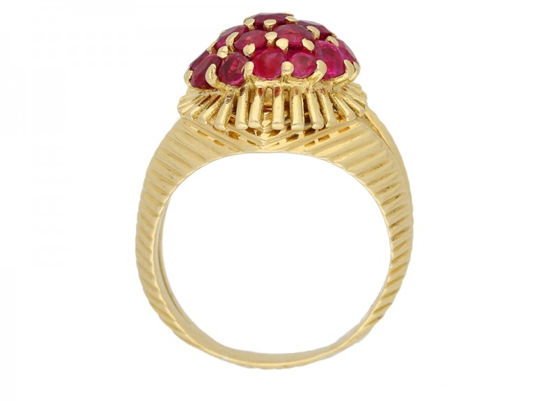 front view Tiffany & Co ruby cocktail  ring berganza hatton garden