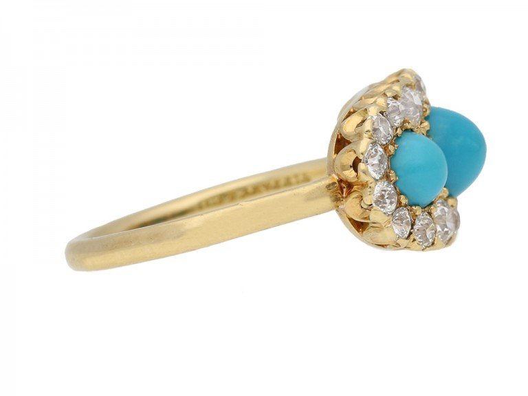 Antique Tiffany turquoise diamond ring berganza hatton garden