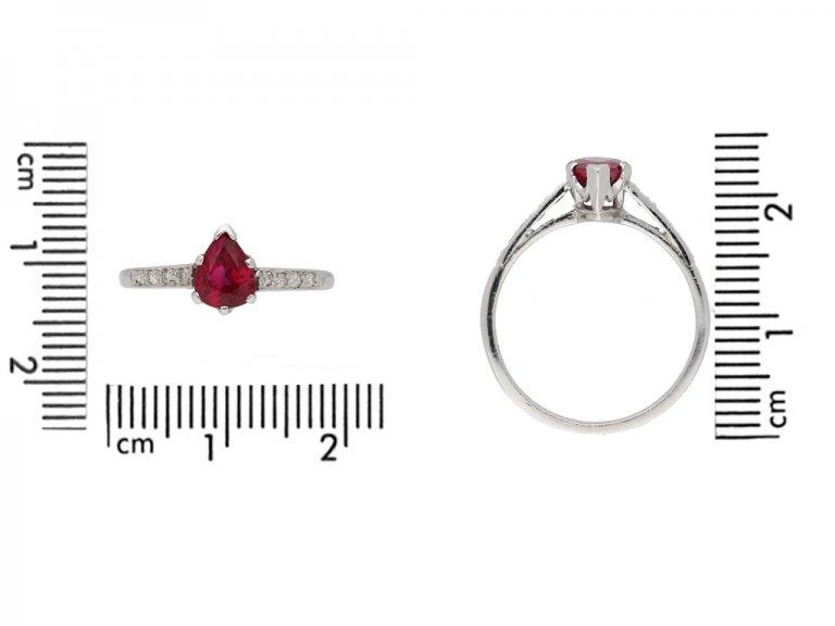 front view vintage Burmese ruby diamond ring hatton garden berganza