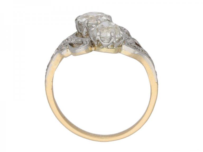 front view antique diamond crossover ring berganza hatton garden