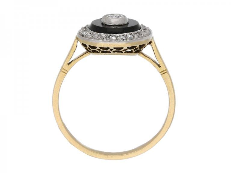 side view Diamond onyx cluster ring berganza hatton garden