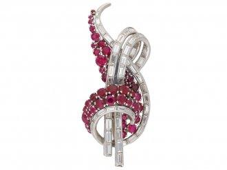 Vintage ruby diamond brooch berganza hatton garden