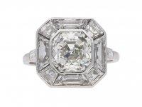 Art Deco asscher cut diamond ring berganza hatton garden