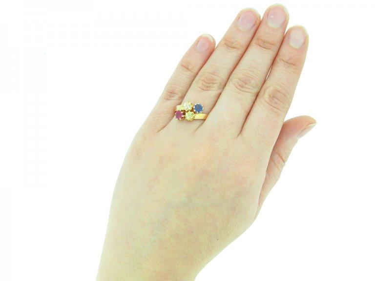 front view antique ruby diamond dapphire ring berganza hatton garden
