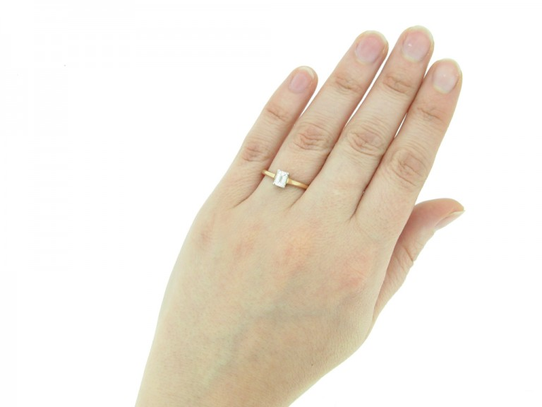front view vintage Solitaire diamond ring berganza hatton garden