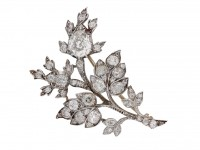 front view antique Diamond floral brooch berganza hatton garden