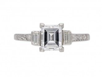 front view Art Deco diamond engagement ring berganza hatton garden