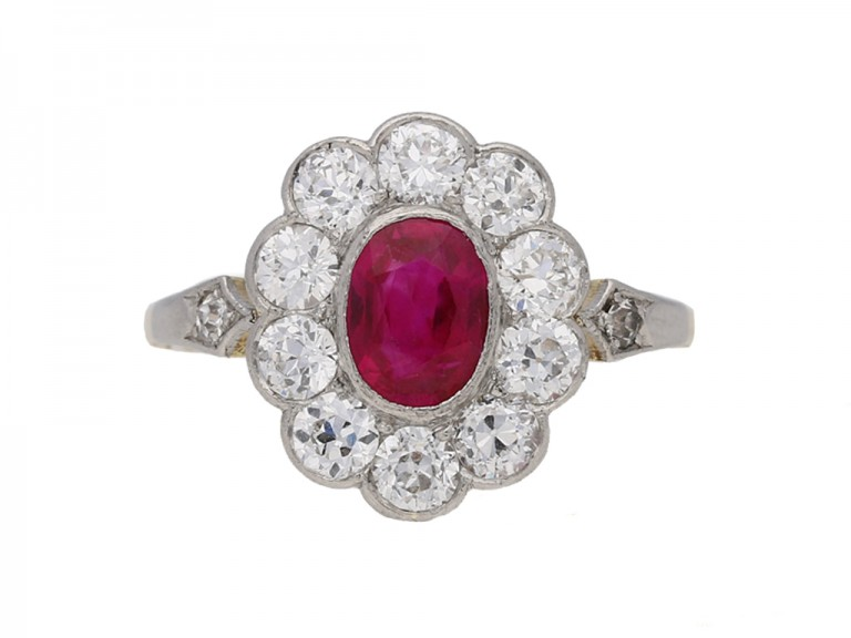 front view antique Diamond ruby ring berganza hatton garden