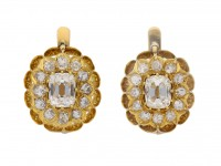 front view antique diamond cluster earrings berganza hatton garden