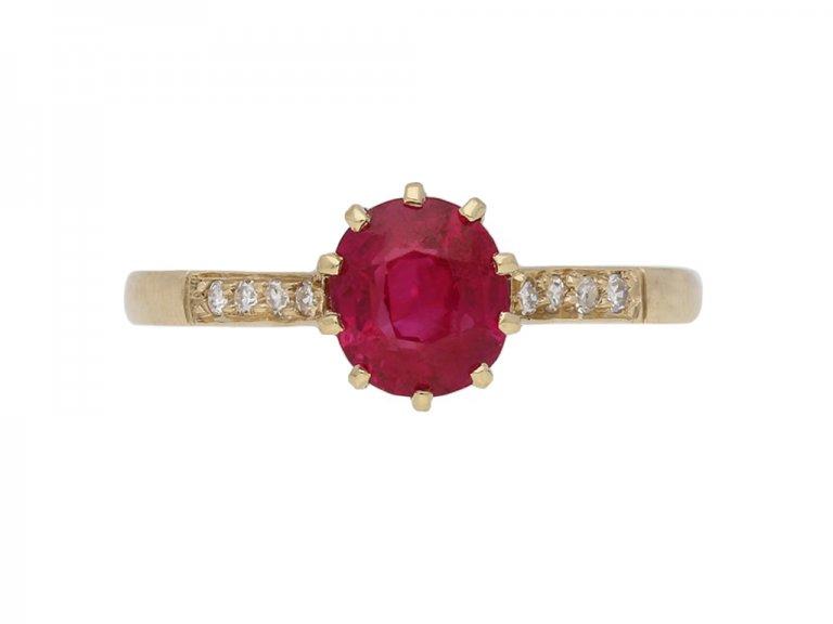 front vintage diamond ruby ring berganza hatton garden