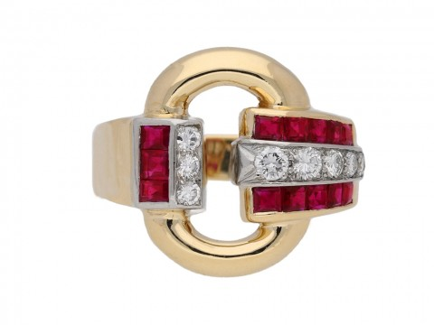 front view Vintage Tiffany ruby diamond ring berganza hatton garden