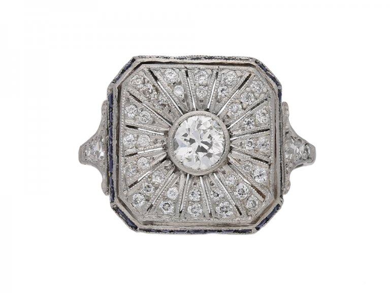 front view Art Deco diamond sapphire ring berganza hatton garden