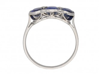 front view vintage sapphire diamond ring berganza hatton garden