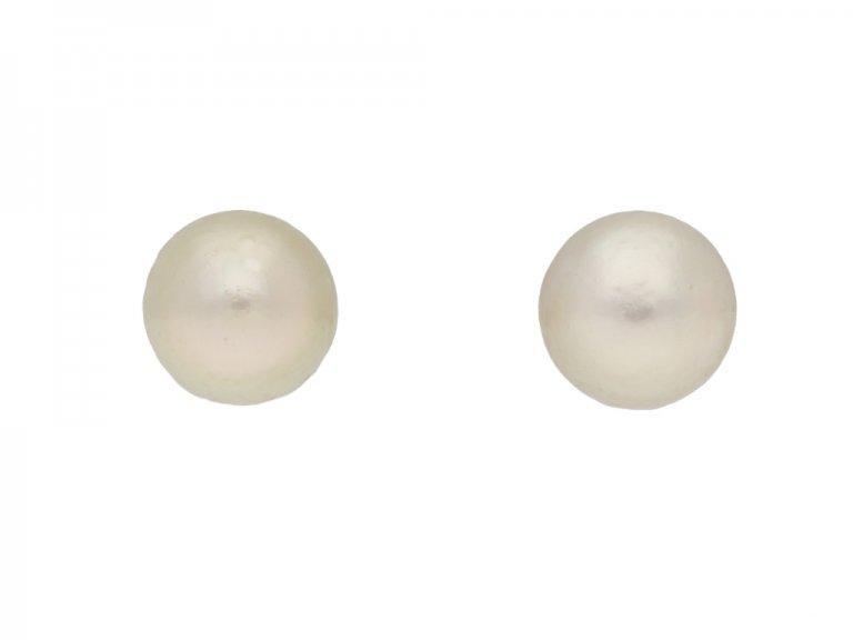 front veiw vintage Natural pearl stud earrings berganza hatton garden