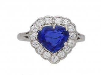 front view antique Sapphire diamond ring berganza hatton garden
