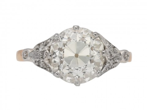 front view antique diamond engagement berganza hatton garden