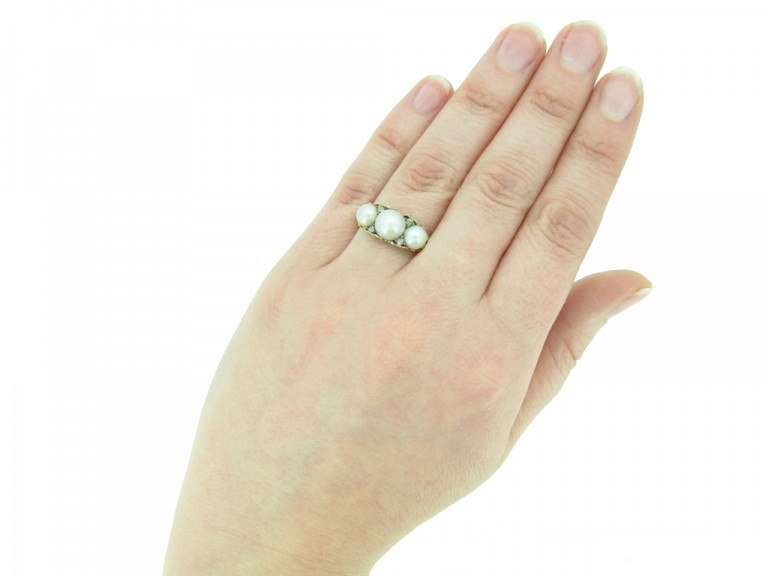 front view antique pearl carved ring berganza hatton garden