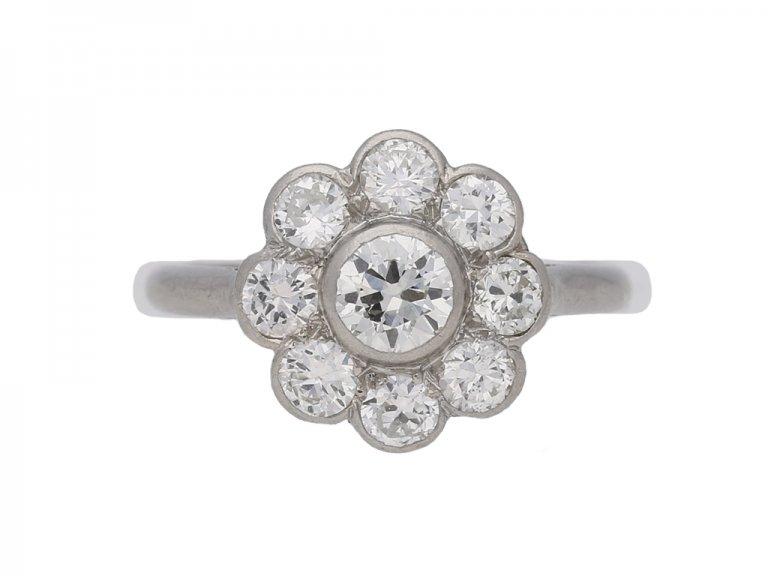 front view vintage Diamond cluster ring berganza hatton garden