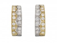 front view vintage diamond gold earrings berganza hatton garden
