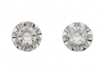 front view art deco diamond earrings berganza hatton garden