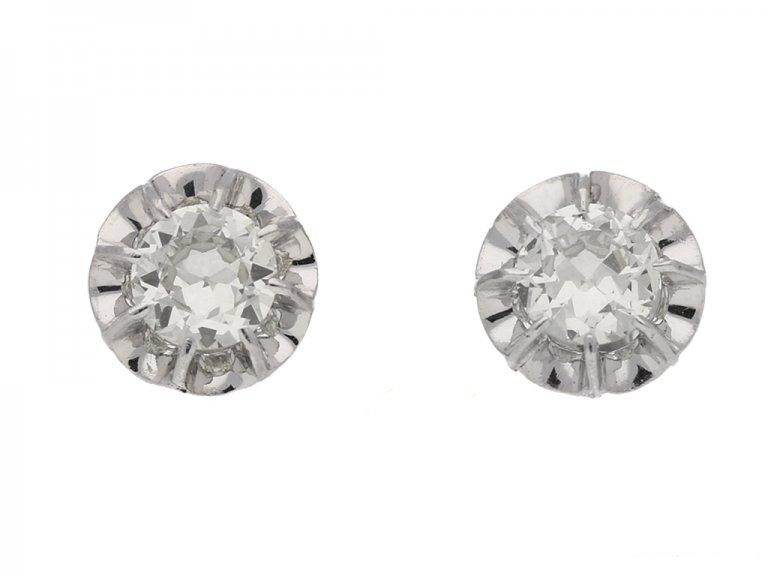 front view art deco diamond earrings berganza hatton garden